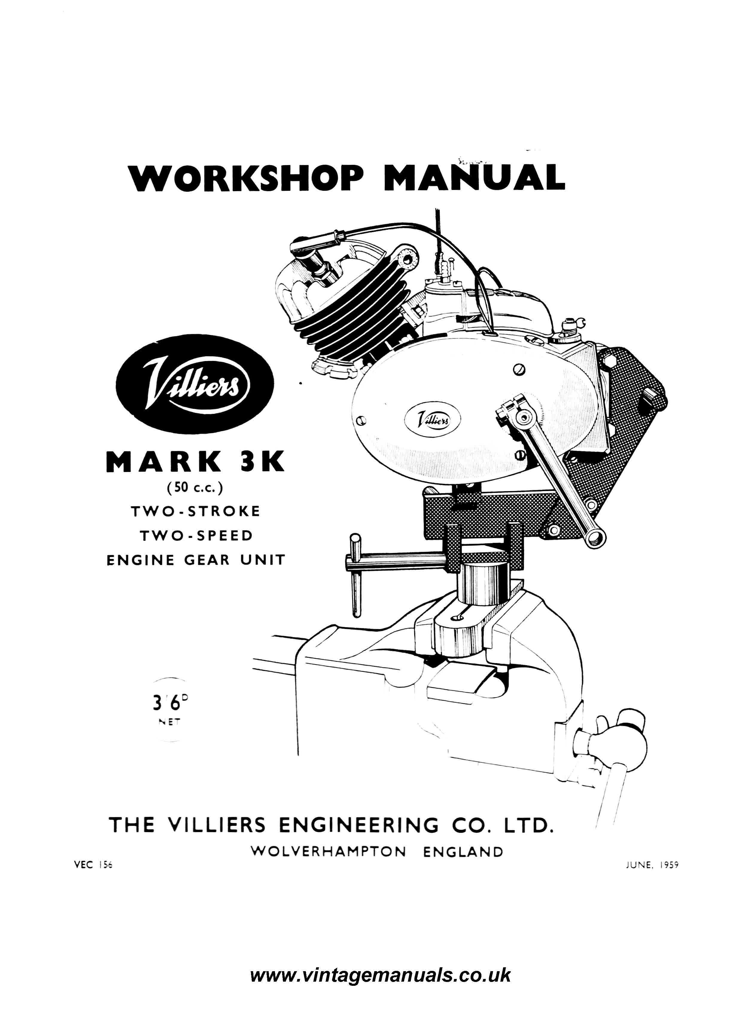 Villiers Mk3 F Motorcycle Engine Workshop Service and
