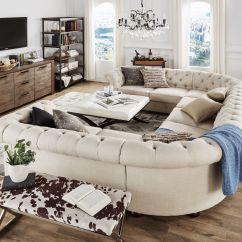 Tribecca Home Knightsbridge Beige Linen Tufted Scroll Arm Chesterfield Sofa How To Make Diy 9 Seat U