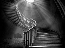 I love spiral staircases, especially in black and white ...