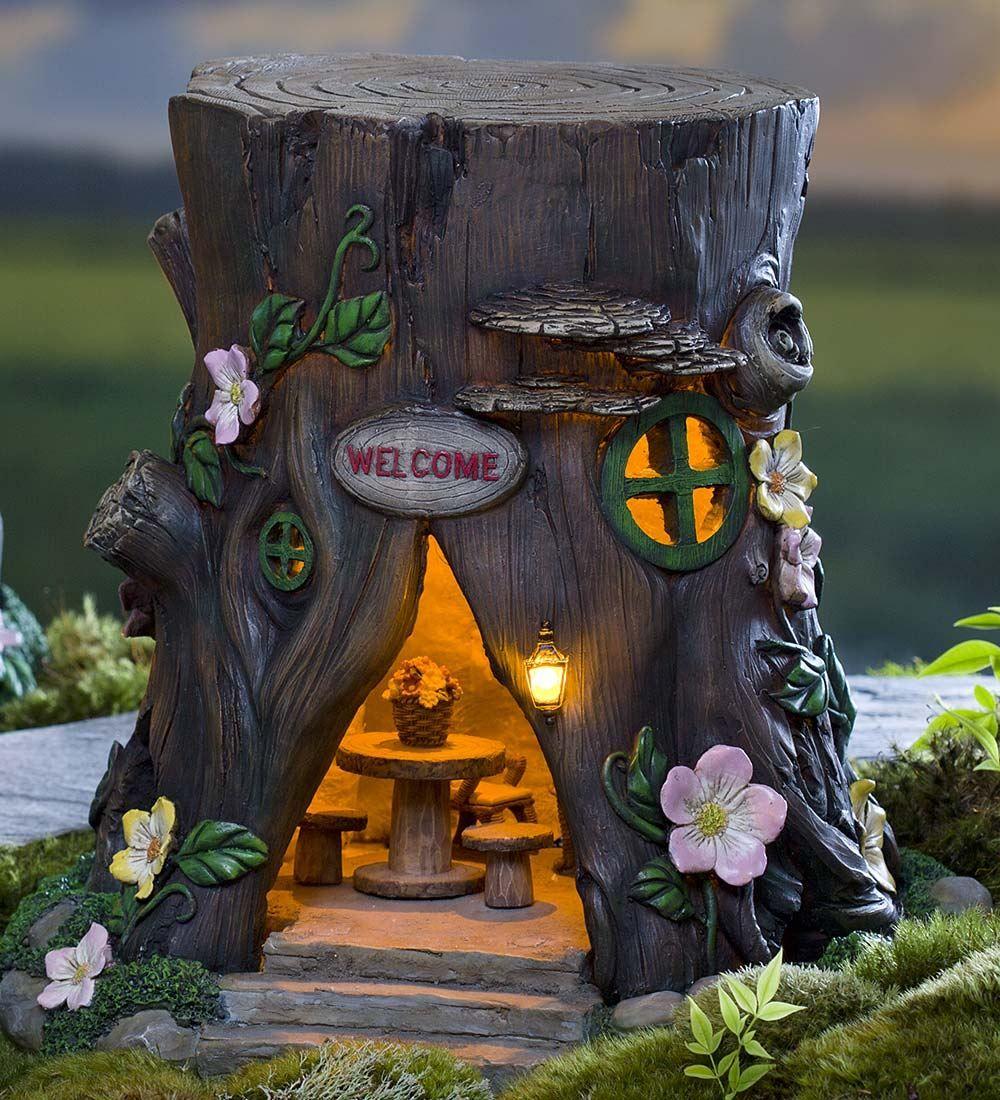 Solar Welcome House Stump Fairy Gardens Plow & Hearth