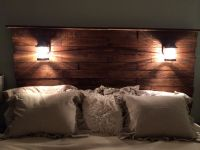 Diy pallet headboard!! Add stain, & cool lights!! & bam
