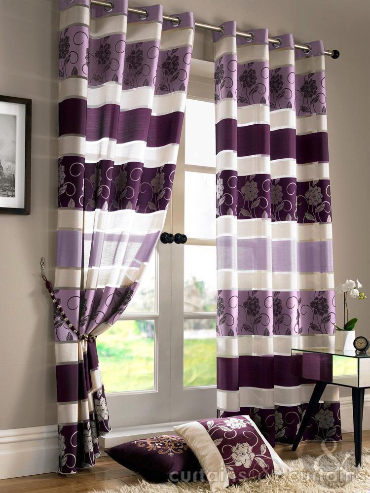 Jasmine Floral Purple Eyelet Voile Curtain  Purple