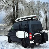 Sprinter 4x4 with Aluminess roof rack, ladder, surf poles ...