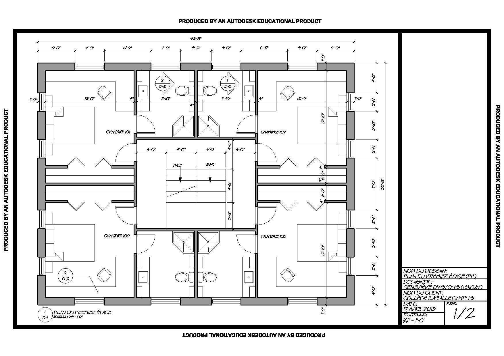 Plan d'un étage d'une résidence collégiale réalisé en
