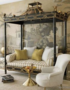 Daybed with de gournay   early views of india wallpaper and jonathan adler table in  private san francisco home styled by designer benjamin dhong also modern interpretation chinoiserie style through rh pinterest