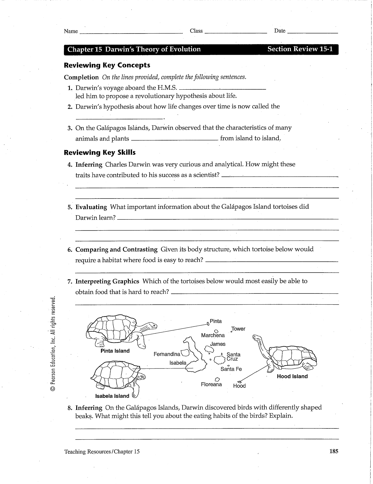 Theory Of Evolution Chapter 15 The Theory Of Evolution Worksheet Answers