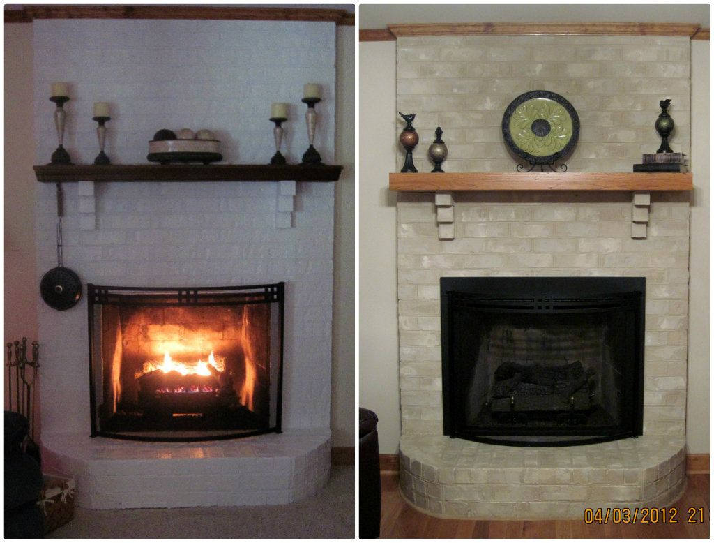 From White Painted Fireplace To A More Natural Looking Tan