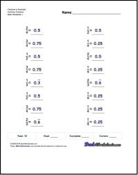 Fractions as Decimals This page contains links to free ...