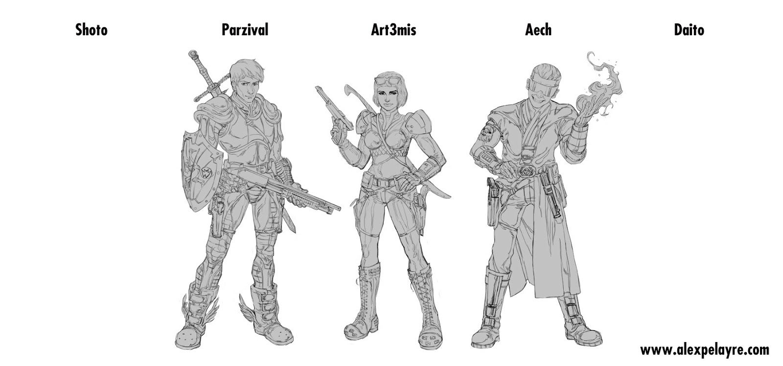 Characters from Ready Player One (Parzival, Art3emis, Aech