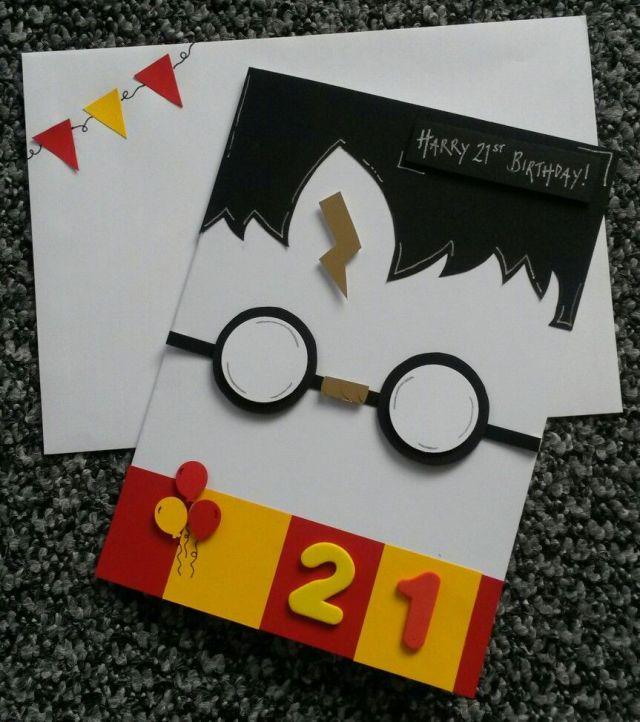 Handmade birthday card21stharry potter theme diy