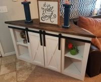 Corner TV console with sliding barn doors all ready for ...