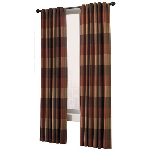 Plaid Paneled Allen And Roth Curtain Panels Rust Brown And Tan