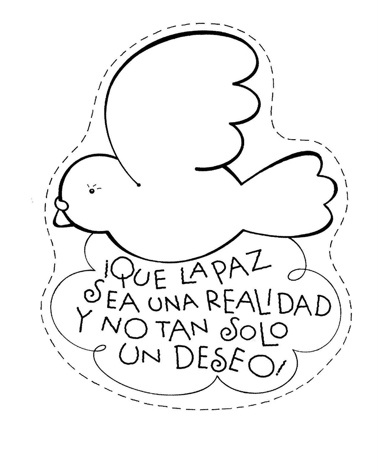 dibujos para colorear, dia de la paz, colorear la paz
