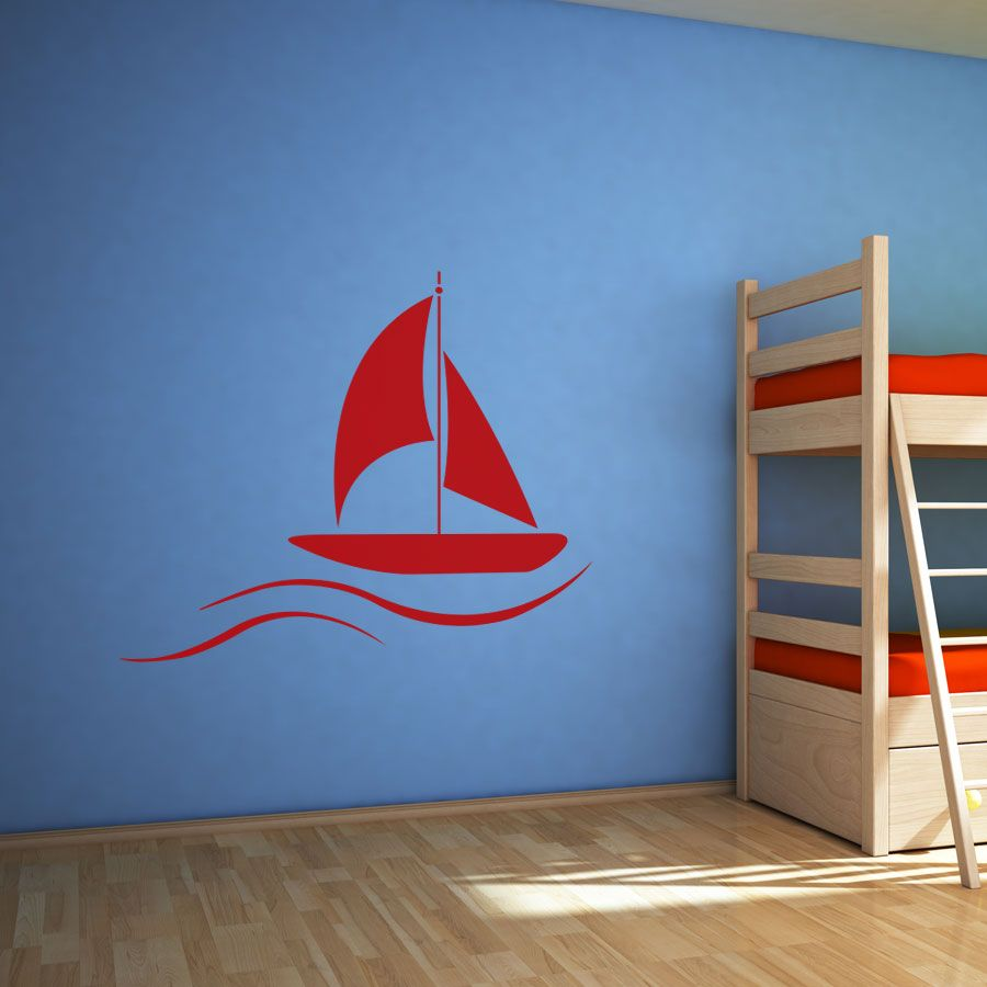 Create  nautical feeling to any room with this sailboat wall art decal wallums also rh pinterest