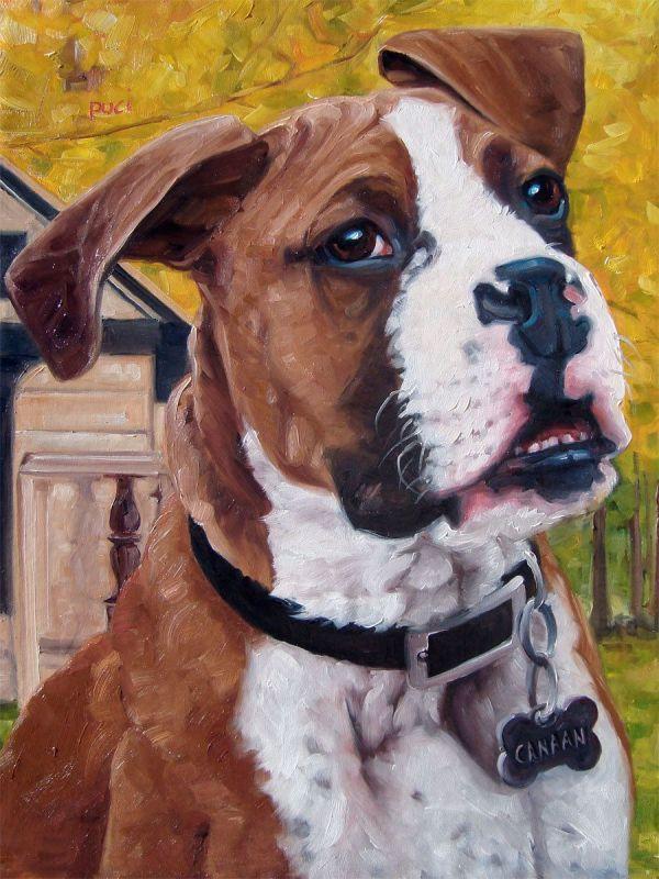 Boxer Love Custom Pet Portrait Oil Painting