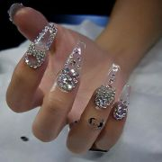 custom nails design crystal