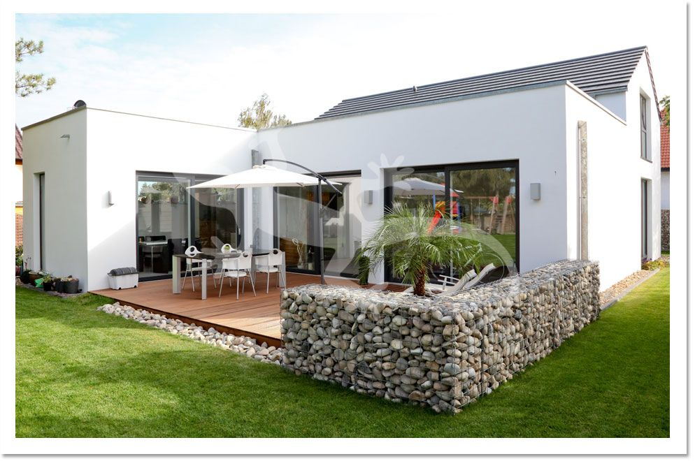 moderne gartengestaltung mit gabionen - terrasseenbois, Garten und Bauten