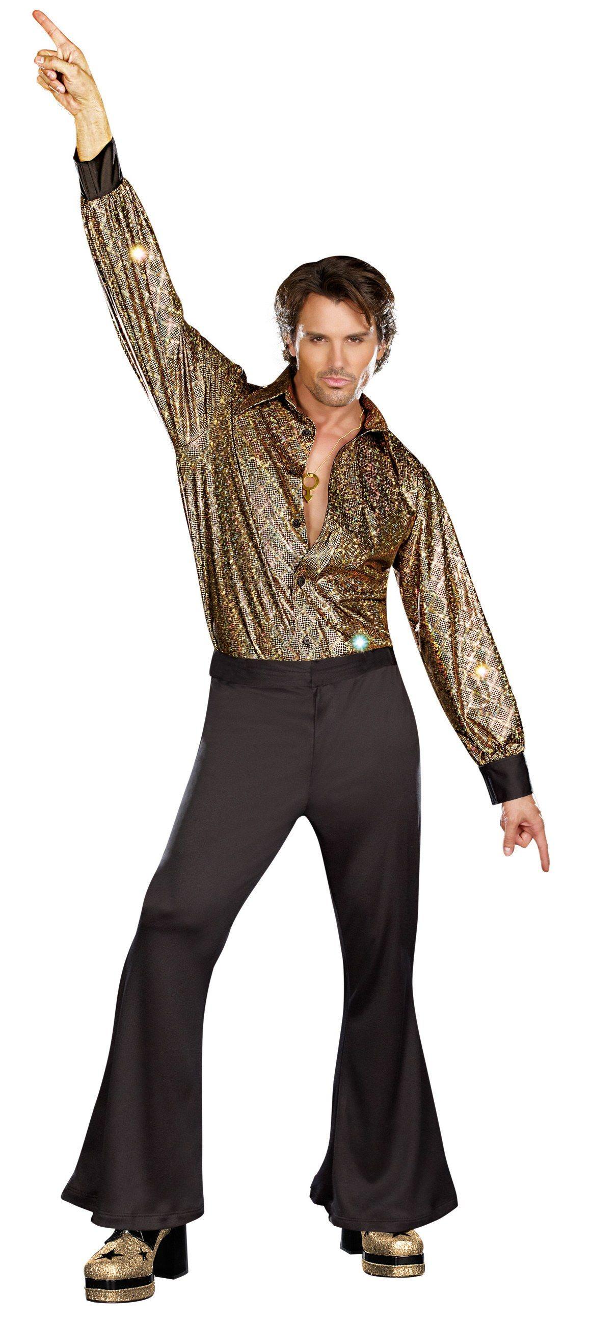 70s Black Fashion Male  Mens Disco Stayin Alive 70s Adult