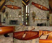 DISPLAY CEDAR STRIP CANOE WOOD MODEL WALL BRACKET ...