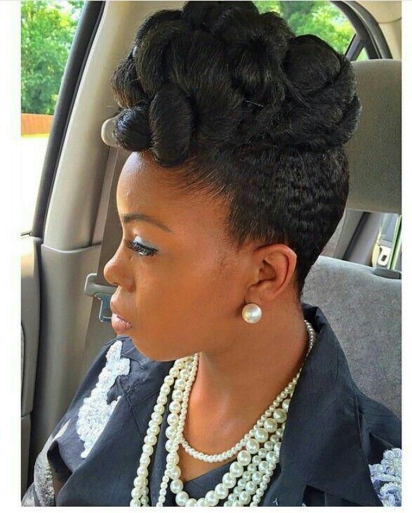 Natural hair updo pinup  Natural Hair Me  Pinterest  Natural hair updo Updo and Natural