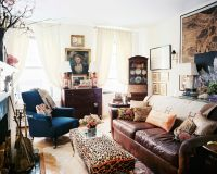 Beige Living Room Photos | Blue velvet, Leather sofas and ...