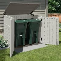 An outdoor storage shed is ideal for storing garbage cans ...