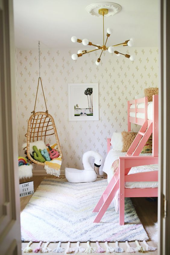 Fun room idea  love the swing  small girl room