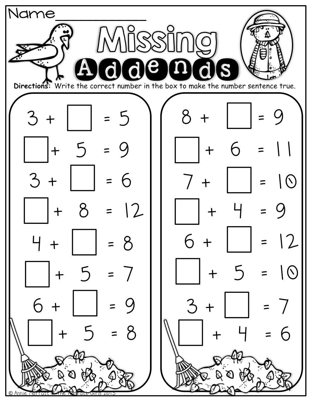 Fall Math And Literacy Packet No Prep 1st Grade