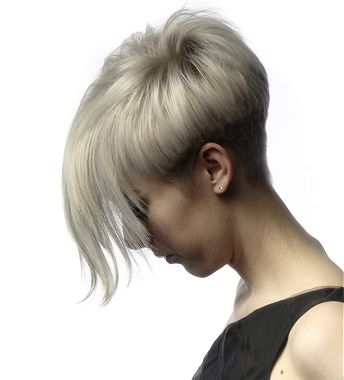 A Medium Blonde Straight Coloured Shaved Back And Sides Hairstyle