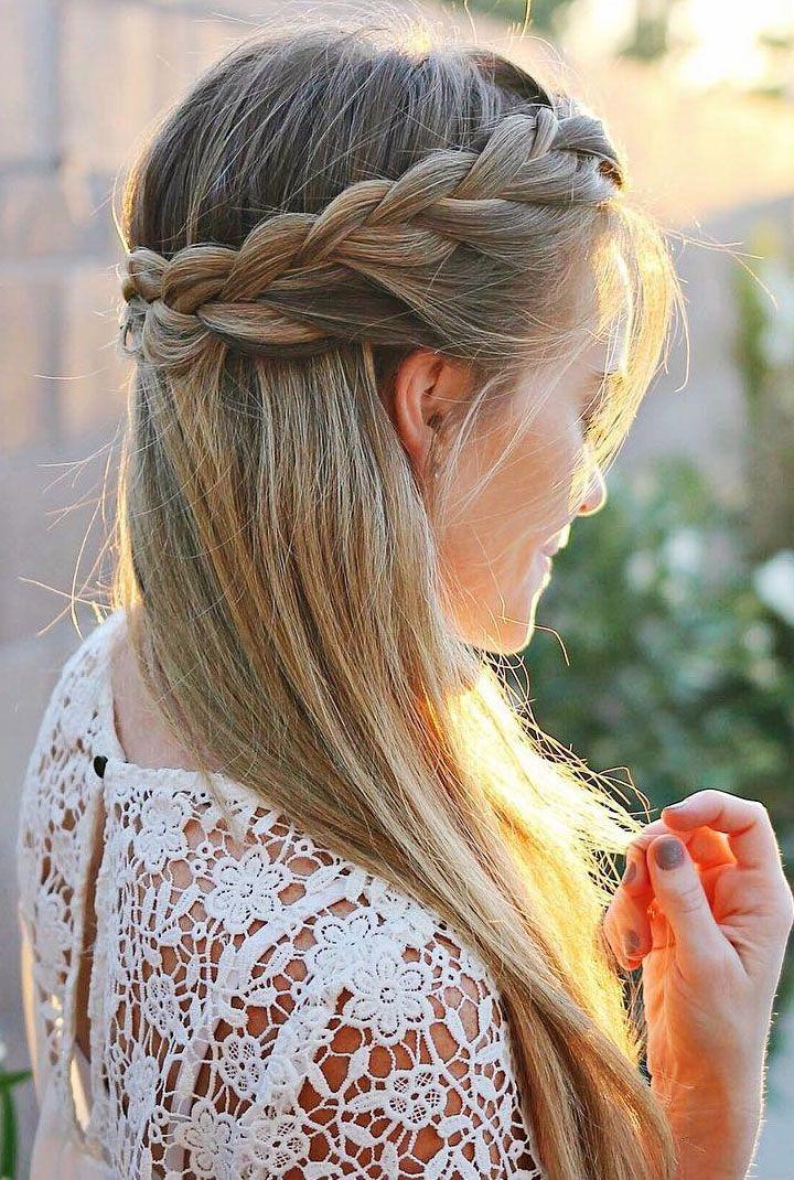 Pretty Half Up French Braid Crown Wedding Hair style idea
