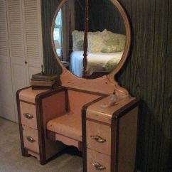 Purple Makeup Vanity Chair Cb2 Phoenix Ivory Antiqued Pink 1950 39s Waterfall Refinished By