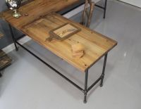 L Shaped Reclaimed Wood Corner Desk Top Surface And Cast ...