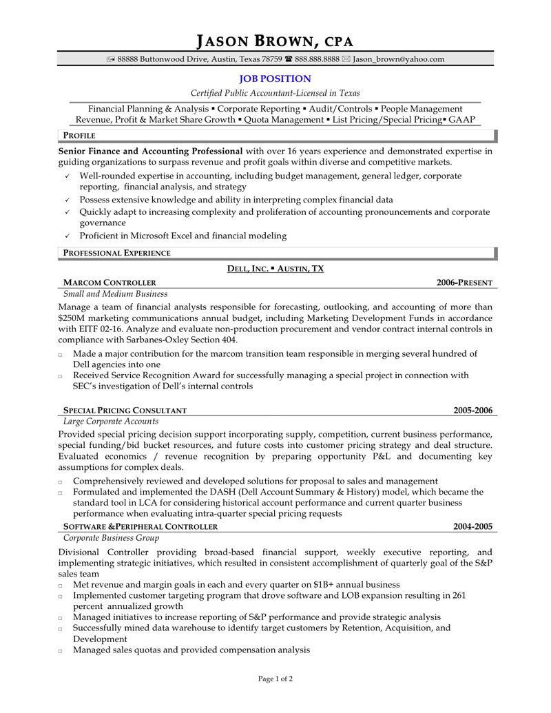 Senior Accountant Resume Example Examples Of Resumes