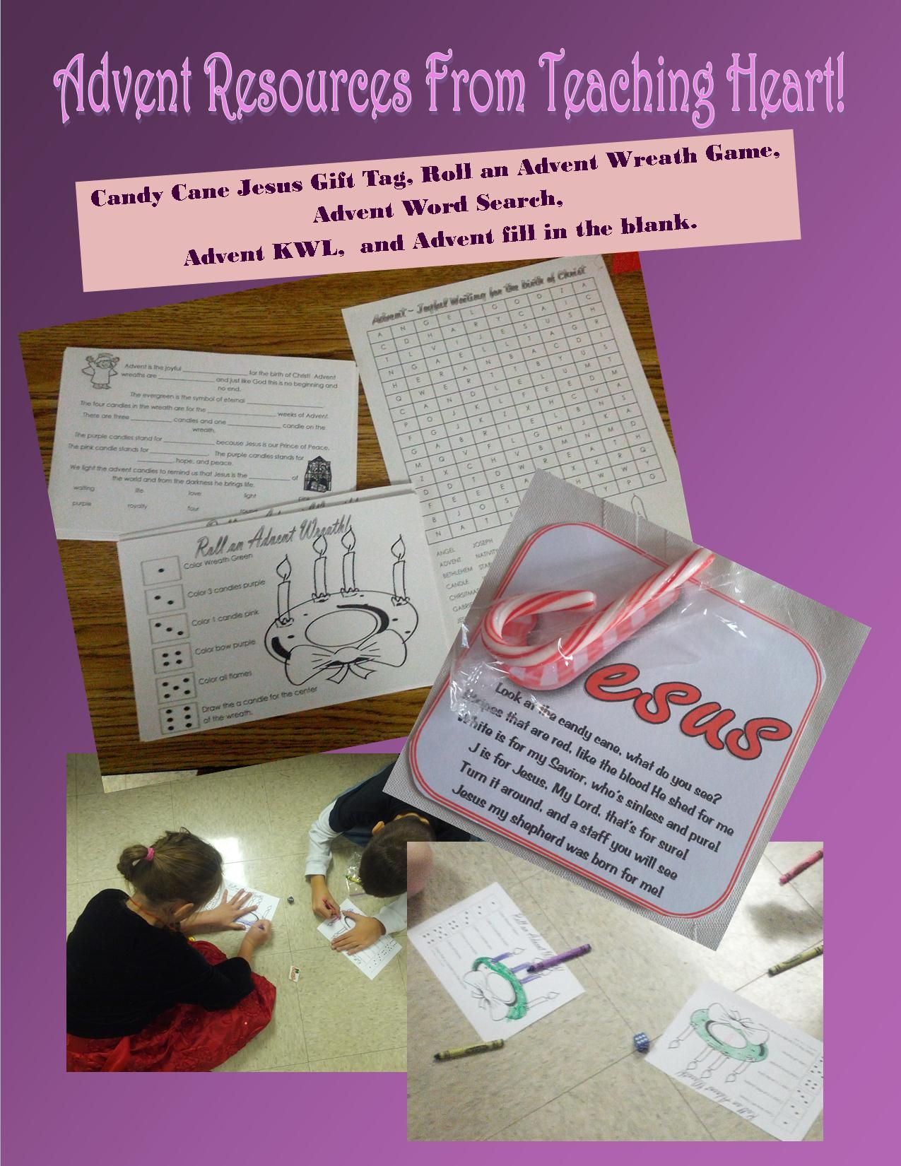 Teaching Heart Free Advent Packet Roll An Advent Wreath Game Kwl Advent Wreath Sheet J Is For