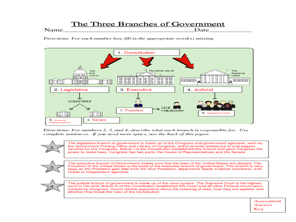 The Three Branches Of Government Legislative Executive Judicial Lesson Plan