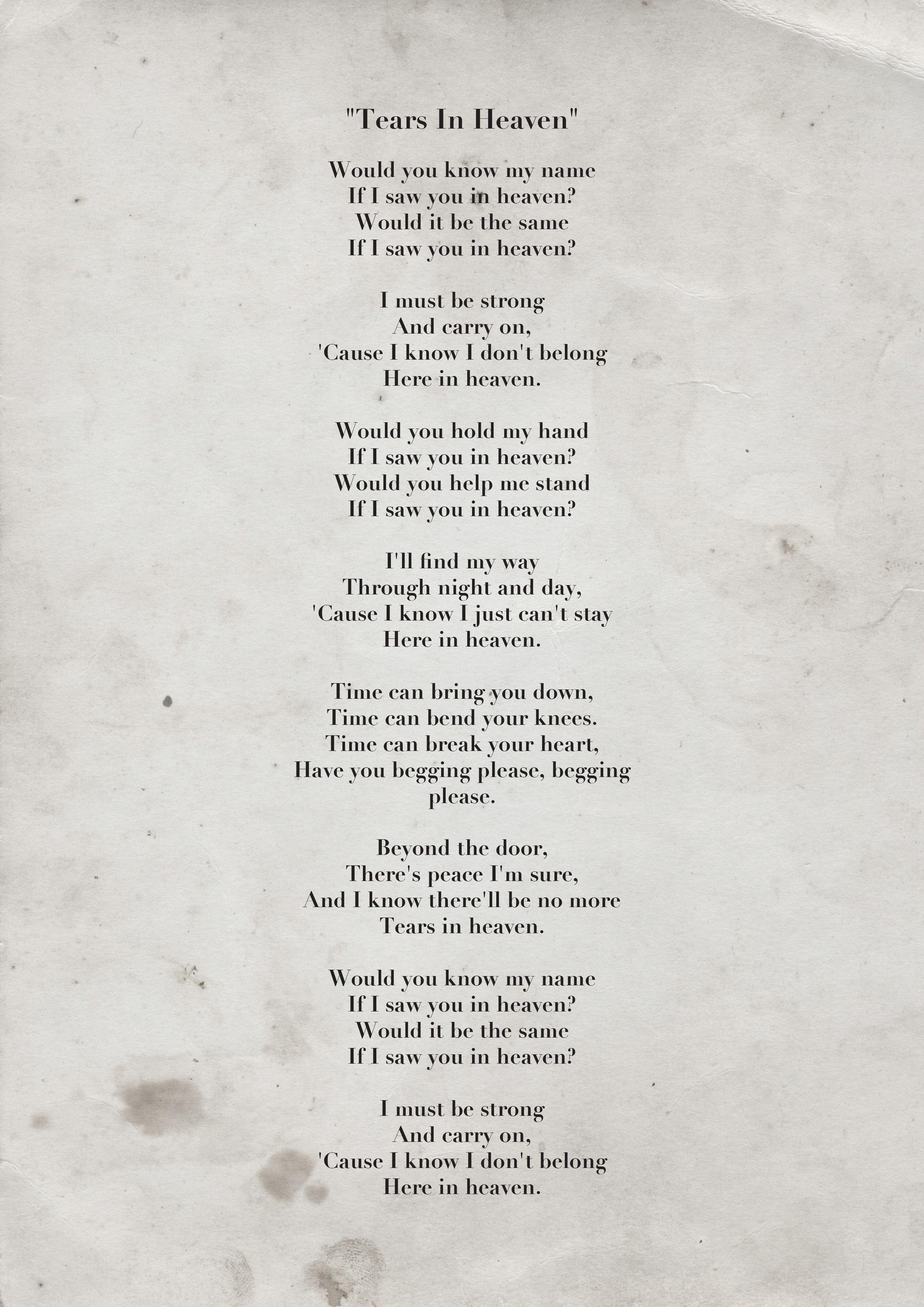 Tears In Heaven Eric Clapton