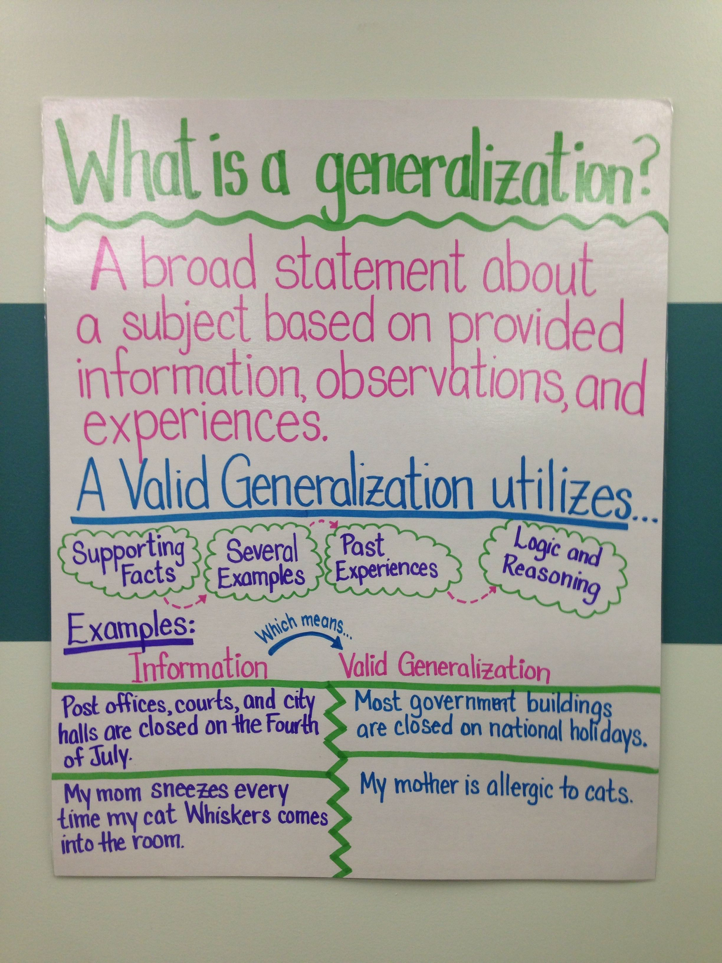 What Is A Generalization Fifth Grade Language Arts