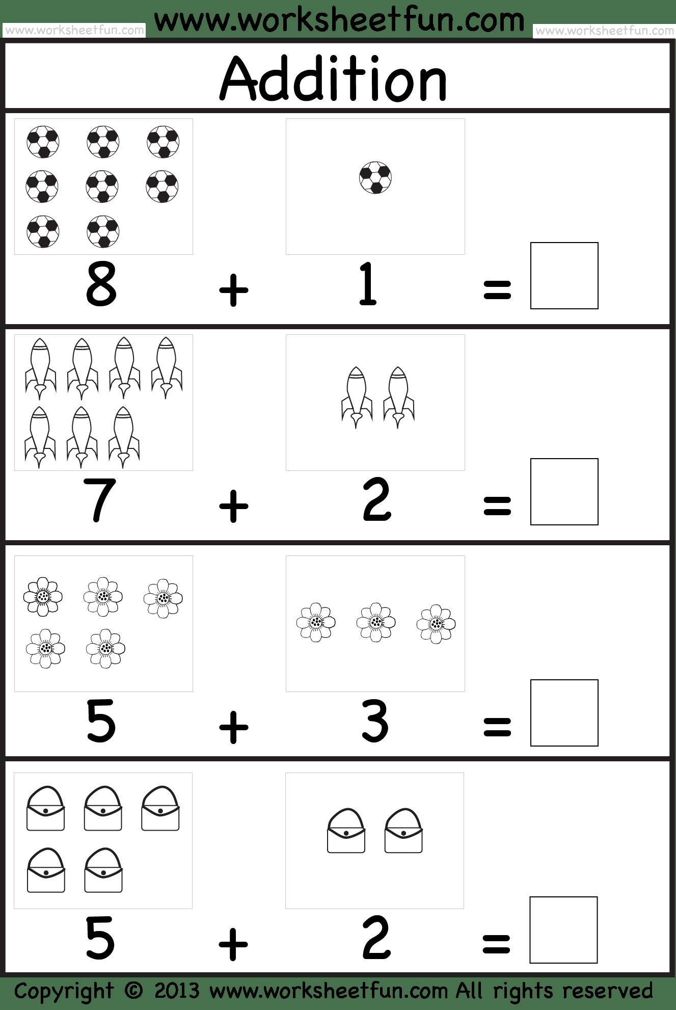 Add Simple Worksheet Kindergarten Math