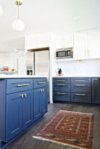 Gorgeous navy blue on lower cabinets dresses up a white ...