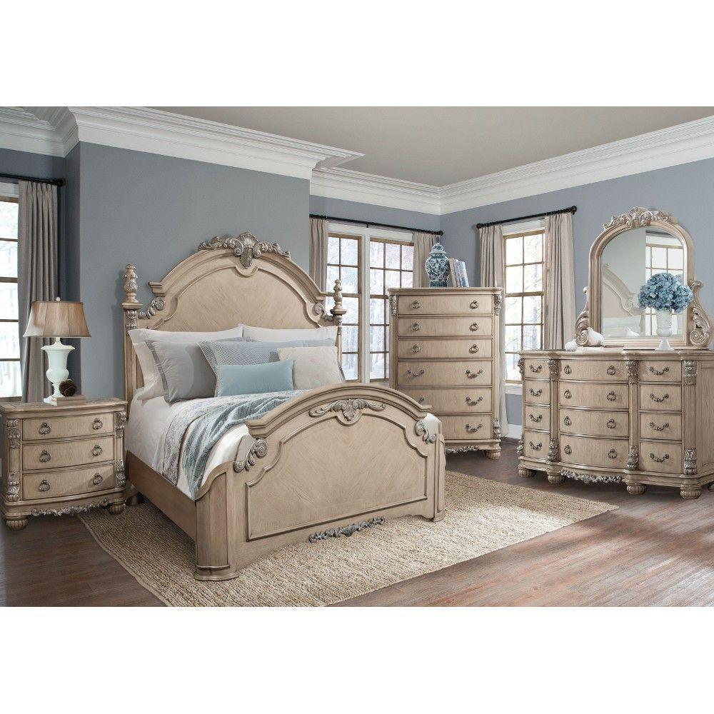 south hampton bedroom - bed, dresser & mirror - king - white