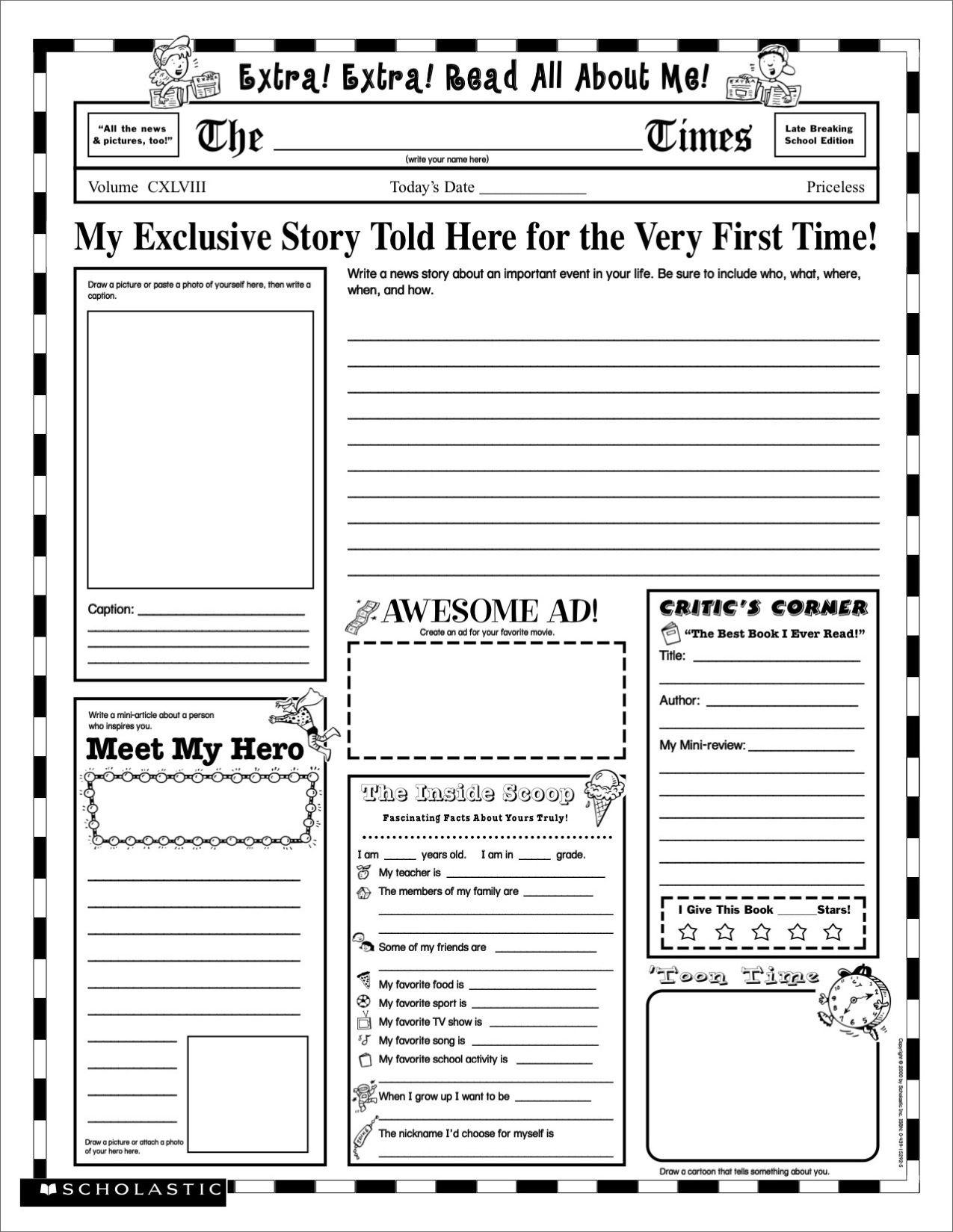 Grade School Autobiography Report Worksheet