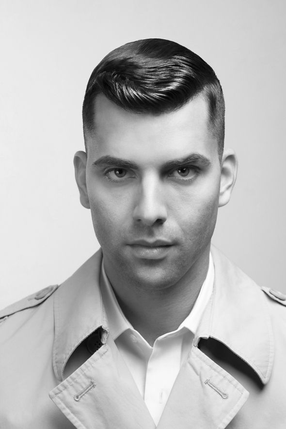 Clean Cut Men's Hairstyle; Shaved On The Side Military Style
