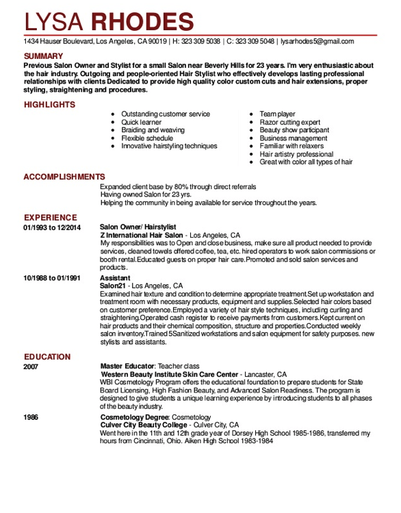 Salon Receptionist Resume Sample Resumesdesign Com Salon