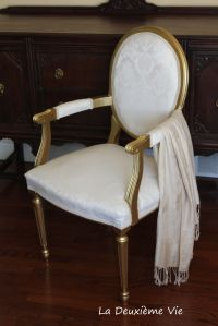 Reupholstered and refreshed antique chair style Louis XVI ...