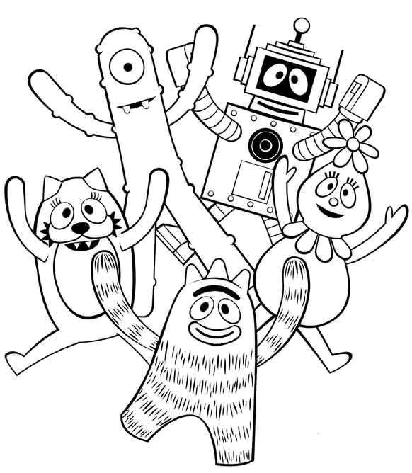 yo gabba gabba coloring page for my coco-nut