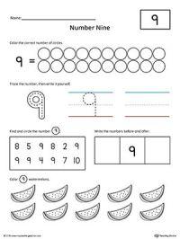 Number 9 Practice Worksheet | Writing numbers, Printable ...