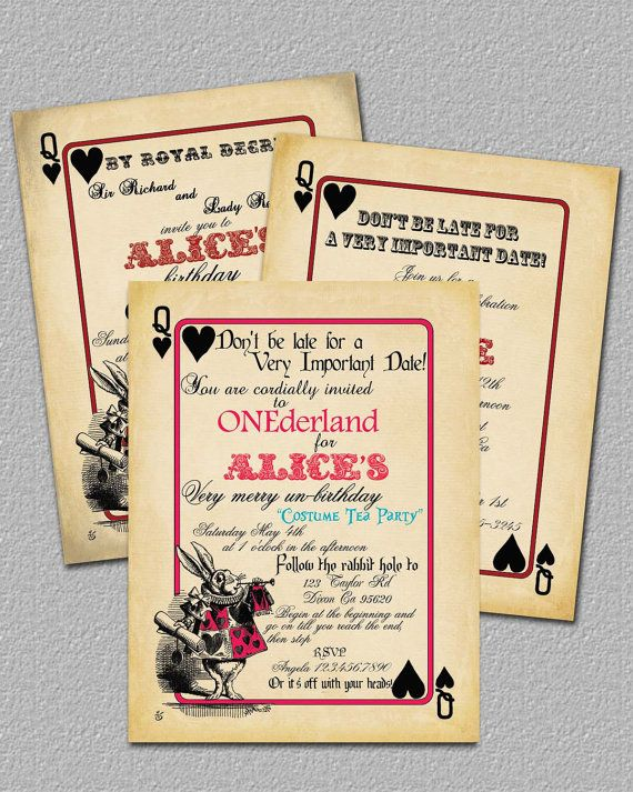 Printable Alice In Wonderland Wedding Invitations – Playing Card Party Invitations