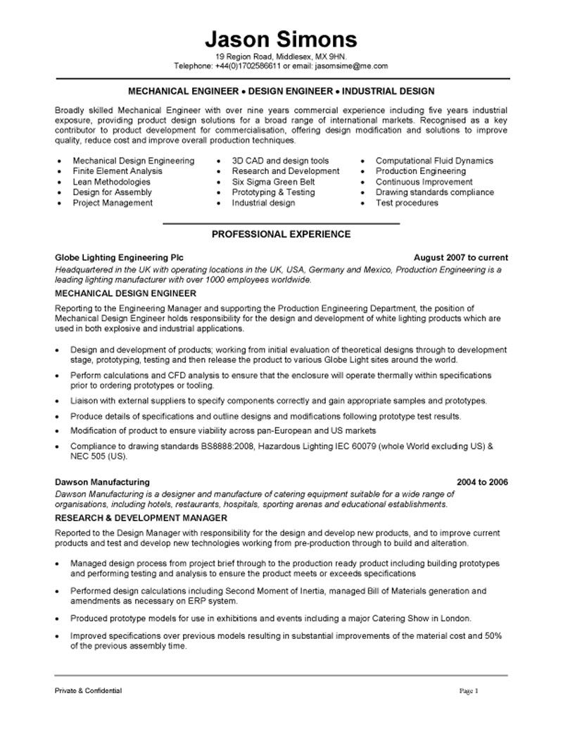Engineering Resume Examples - Examples of Resumes