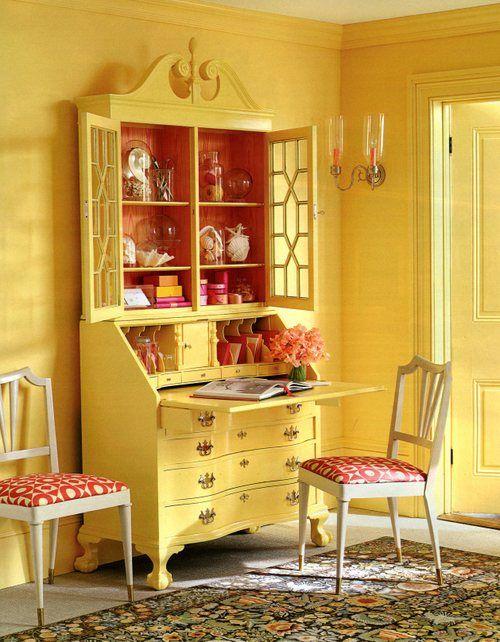 Yellow walls and painted secretary eddie ross cottagedecorating ideasdecor also work play rh pinterest