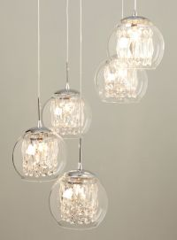 Glass & Crystal Spiral Pendant Chandelier